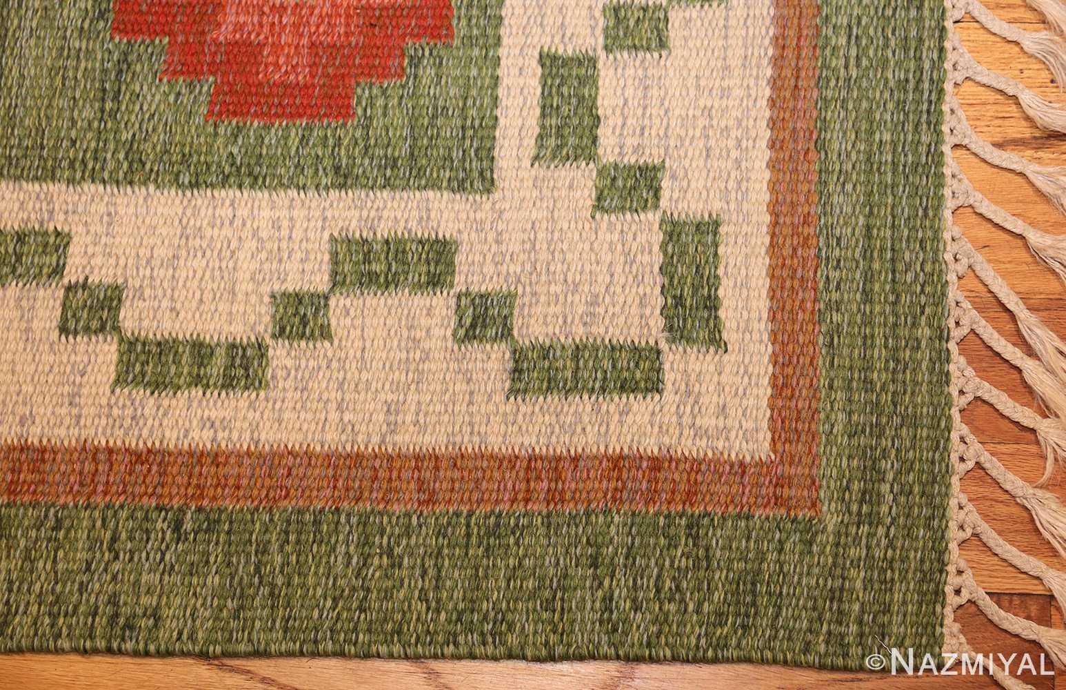 vintage flat woven green swedish scandinavian kilim rug 48990 corner Nazmiyal