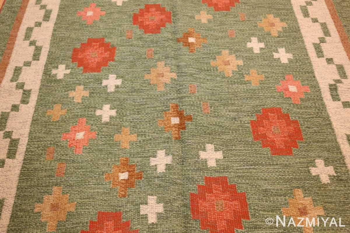 vintage flat woven green swedish scandinavian kilim rug 48990 field Nazmiyal