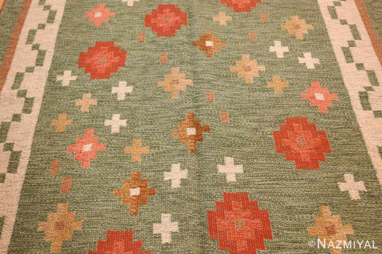vintage flat woven green swedish scandinavian kilim rug 48990 field Nazmiyal