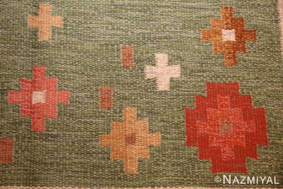 vintage flat woven green swedish scandinavian kilim rug 48990 flowers Nazmiyal