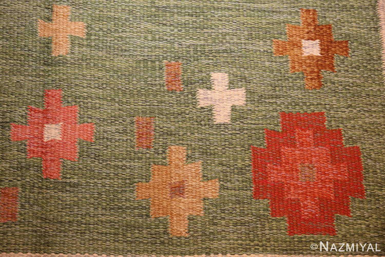 vintage flat woven green swedish scandinavian kilim rug 48990 flowers Nazmiyal
