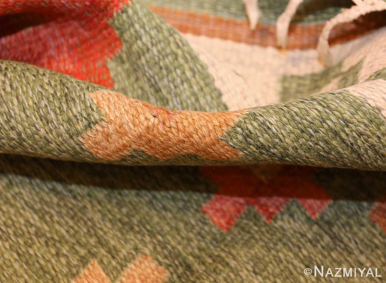 vintage flat woven green swedish scandinavian kilim rug 48990 pile Nazmiyal