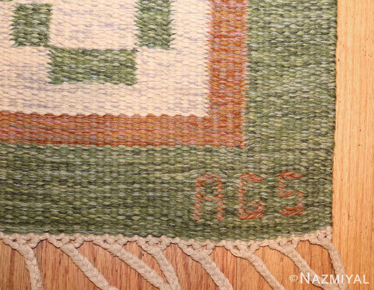 vintage flat woven green swedish scandinavian kilim rug 48990 signature Nazmiyal