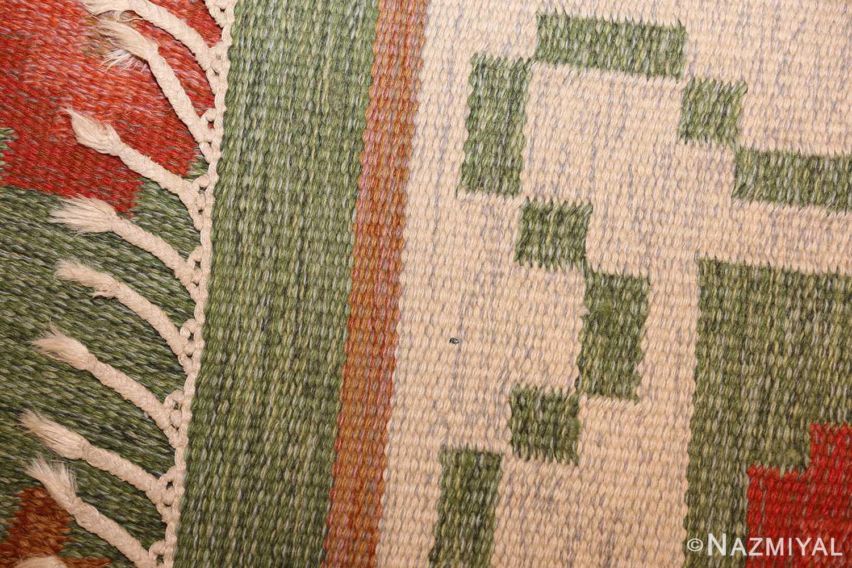 vintage flat woven green swedish scandinavian kilim rug 48990 weave Nazmiyal