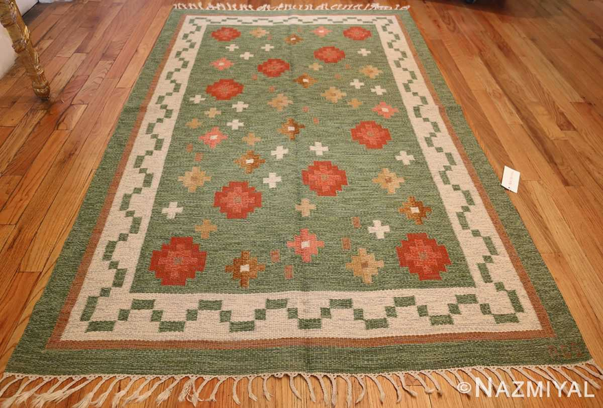 vintage flat woven green swedish scandinavian kilim rug 48990 whole Nazmiyal