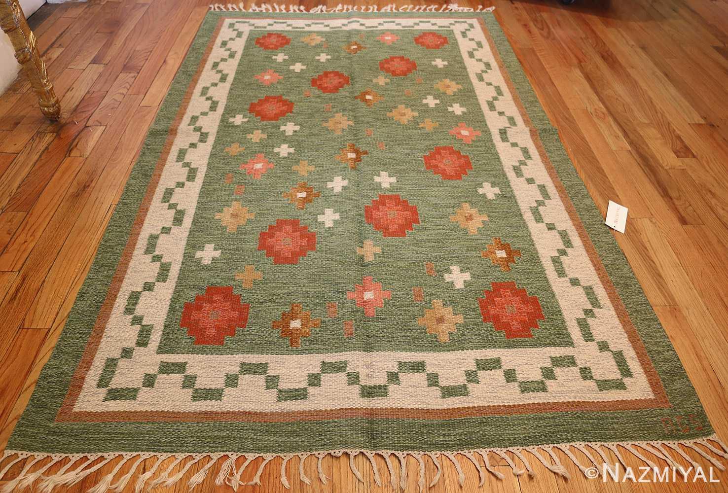 vintage flat woven green swedish scandinavian kilim rug 48990 whole Nazmiyal