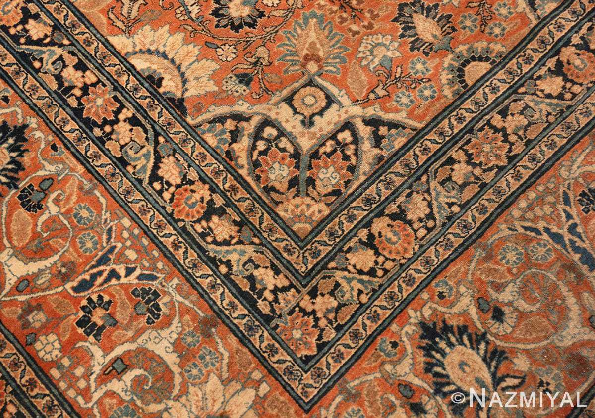 Corner detail antique Persian Tabriz rug 50657 by Nazmiyal
