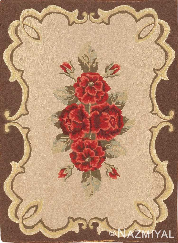 Small Antique American Floral Hooked Rug #40326 by Nazmiyal Antique Rugs