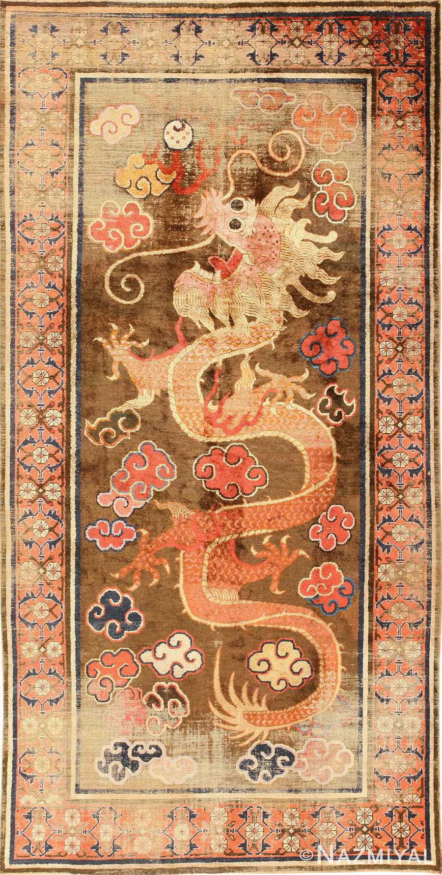 Beautiful Rare Antique Silk Dragon Chinese Rug 48977 By