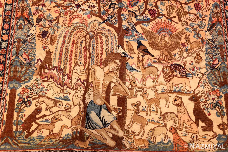 beautiful antique persian kerman rug by master aboul ghasem kermani 49006 bottom Nazmiyal