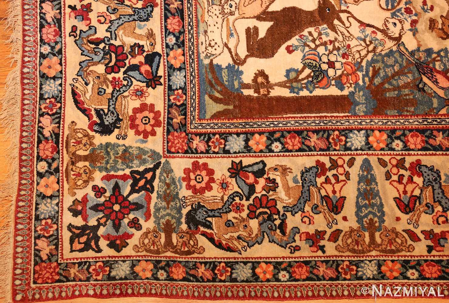 beautiful antique persian kerman rug by master aboul ghasem kermani 49006 corner Nazmiyal