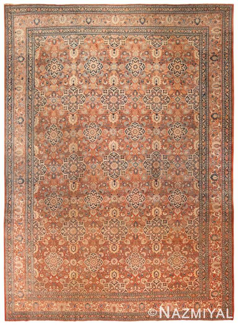 Large Rust Color Antique Persian Tabriz Area Rug #50657 by Nazmiyal Antique Rugs