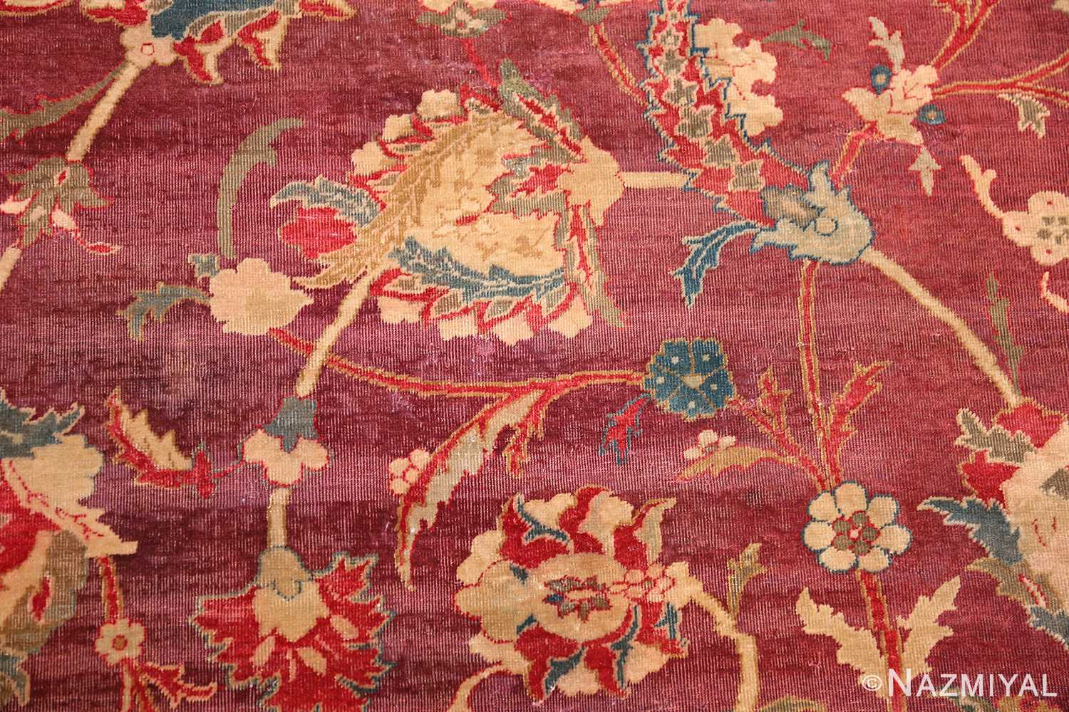 red background antique indian agra rug 50694 field Nazmiyal