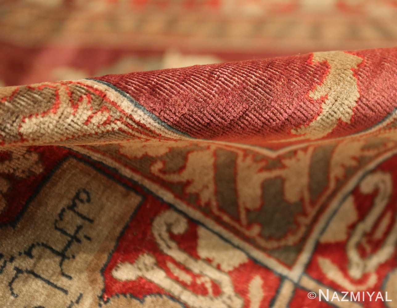 red background antique indian agra rug 50694 pile Nazmiyal
