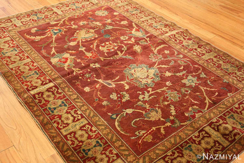 red background antique indian agra rug 50694 side Nazmiyal