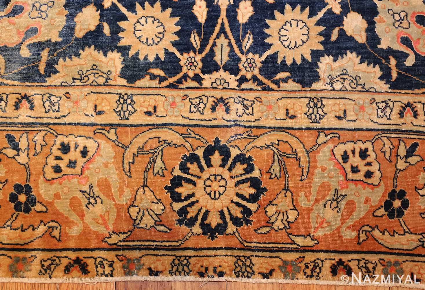 royal blue background antique indian rug 48631 border Nazmiyal