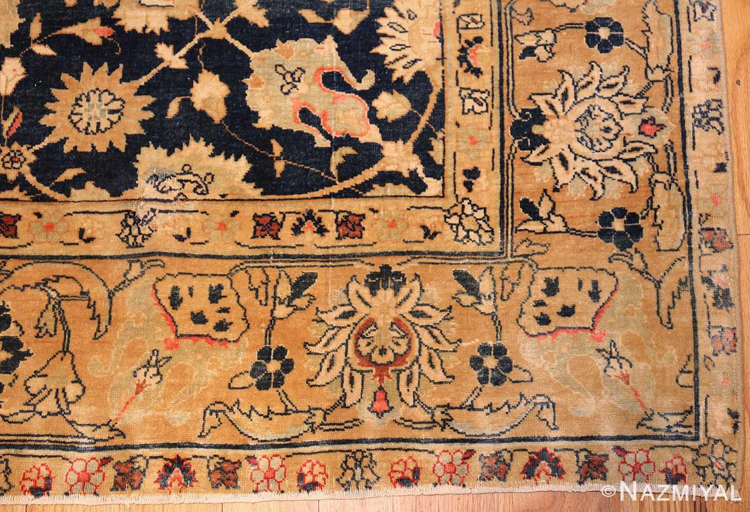royal blue background antique indian rug 48631 corner Nazmiyal