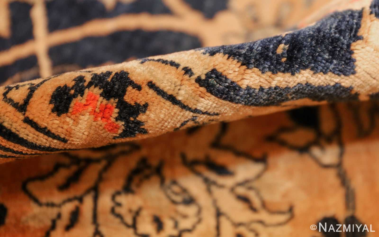 royal blue background antique indian rug 48631 pile Nazmiyal