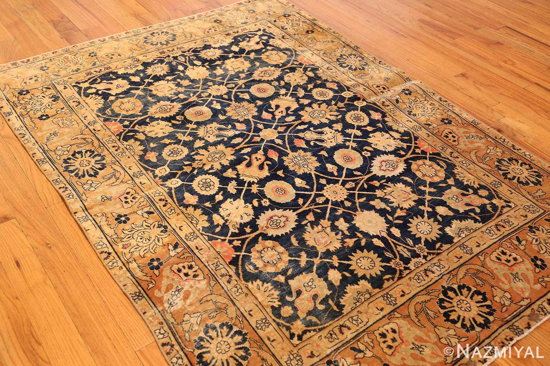 royal blue background antique indian rug 48631 side Nazmiyal