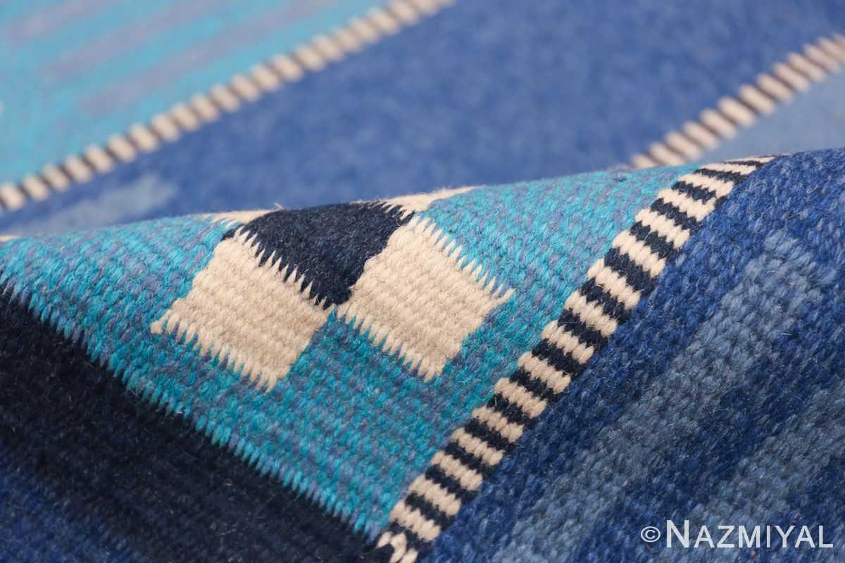 Vintage Swedish Kilim Rug 49019 Light Blue Pile Nazmiyal