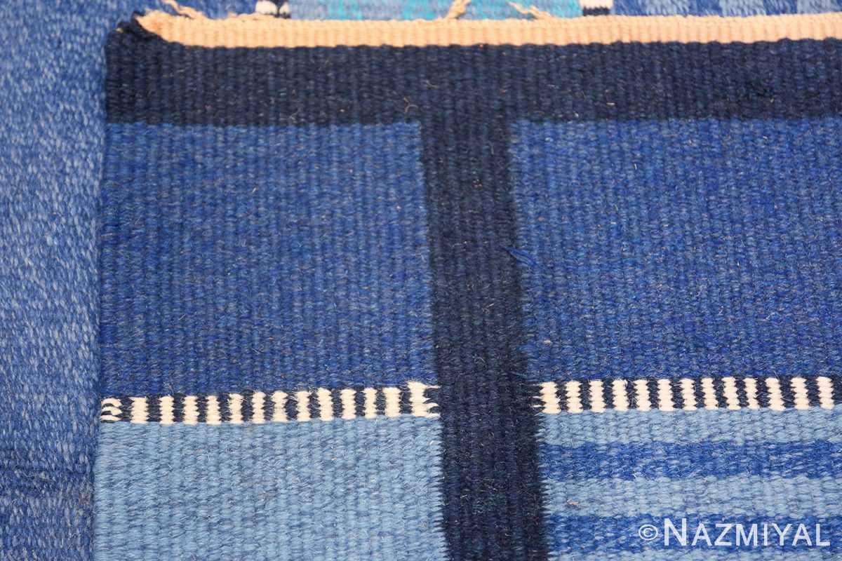 Vintage Swedish Kilim Rug 49019 Linear Knots Nazmiyal