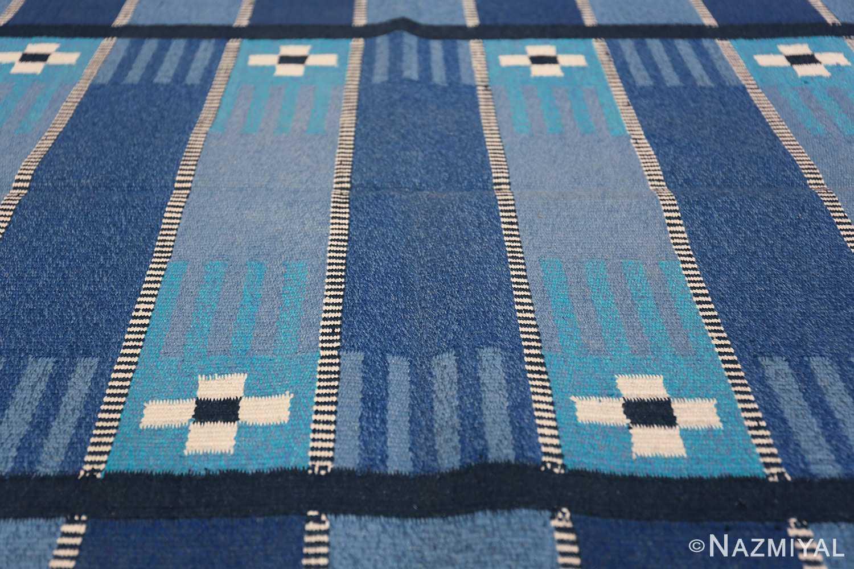Vintage Swedish Kilim Rug 49019 Rows of Blue Lines Nazmiyal