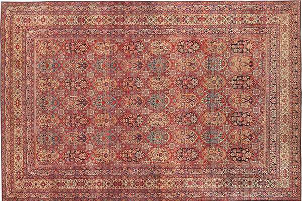 Beautiful red antique Persian Kerman, with gold accents.