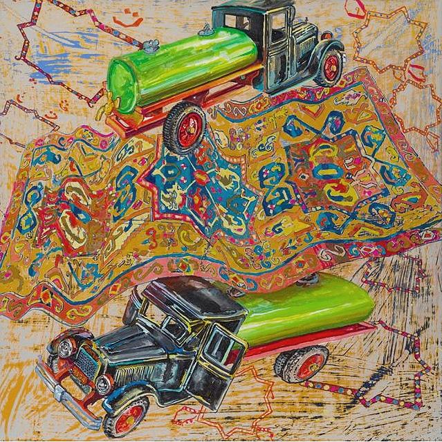 Green Tanker From David Schorr Flying Carpets Series - Nazmiyal