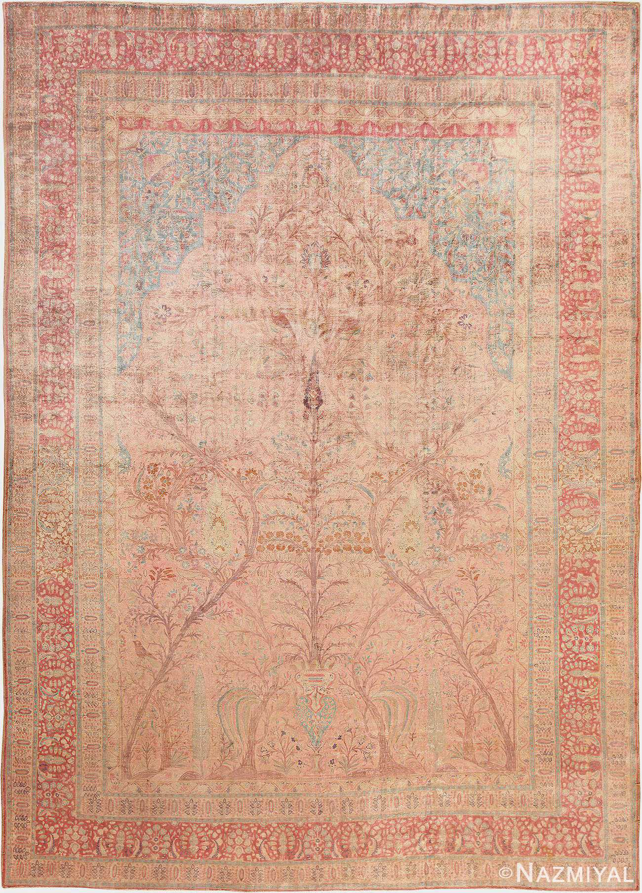 Antique Silk Tree Of Life Design Persian Kashan Rug 48547 from Nazmiyal Antique Rugs in NYC