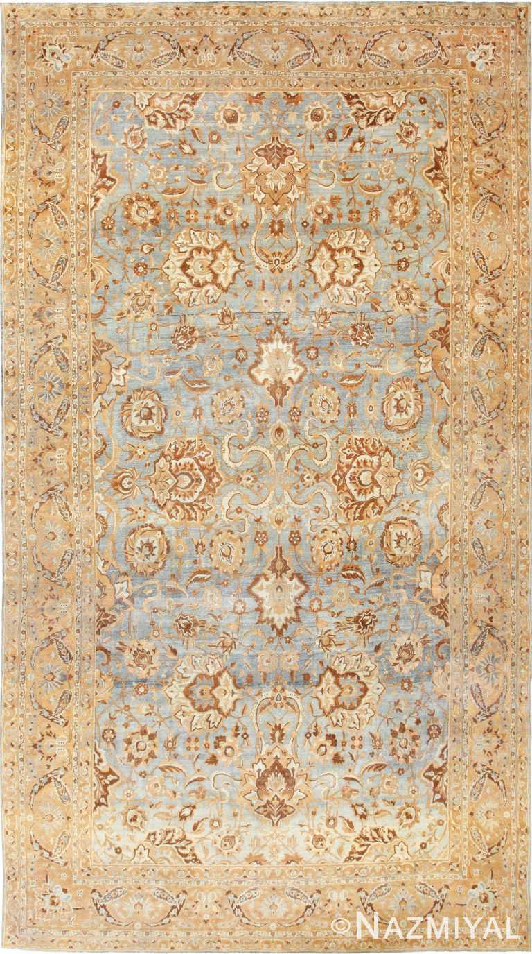 Large Light Blue Background Antique Persian Kerman Rug 48869
