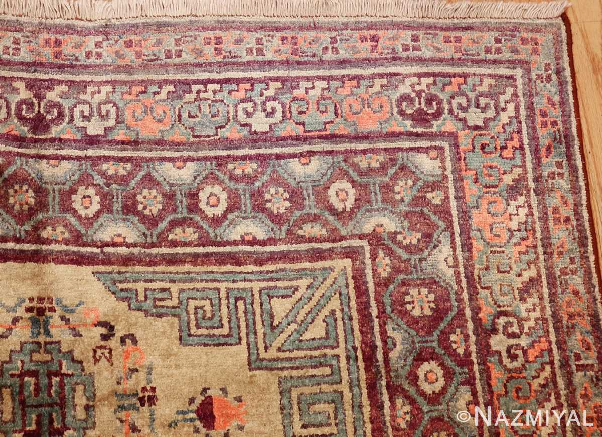 yellow silk khotan rug 49028 corner Nazmiyal
