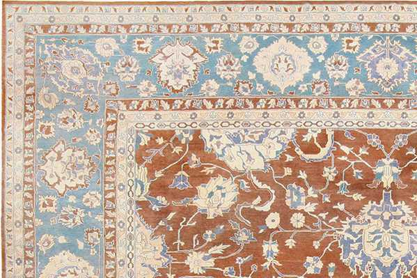 Detailed close up of the antique Agra rug in our newest collections