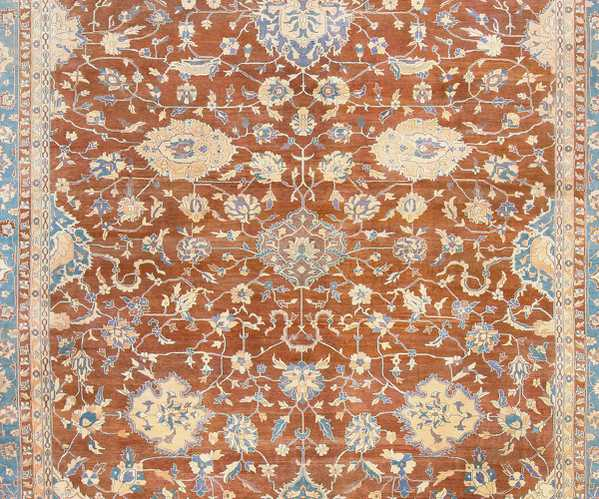 Middle Detail of Antique Agra Rug
