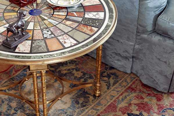 Marble Table by Thomas Jayne on an Isfahan Antique Rug by Nazmiyal