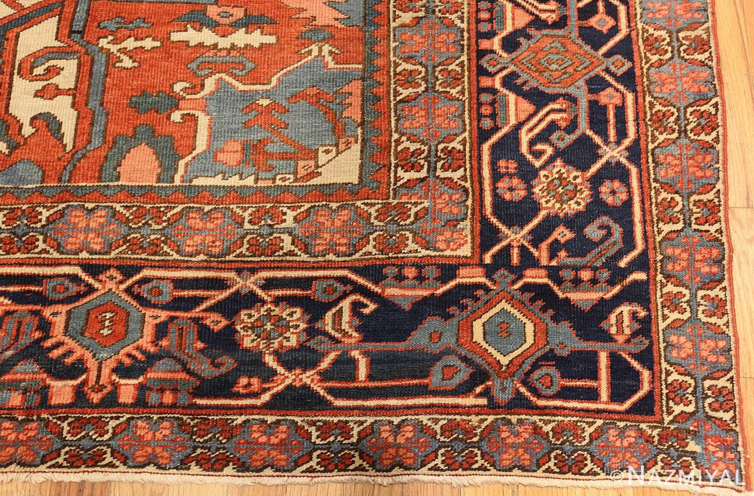 antique persian heriz serapi rug 48632 corner Nazmiyal