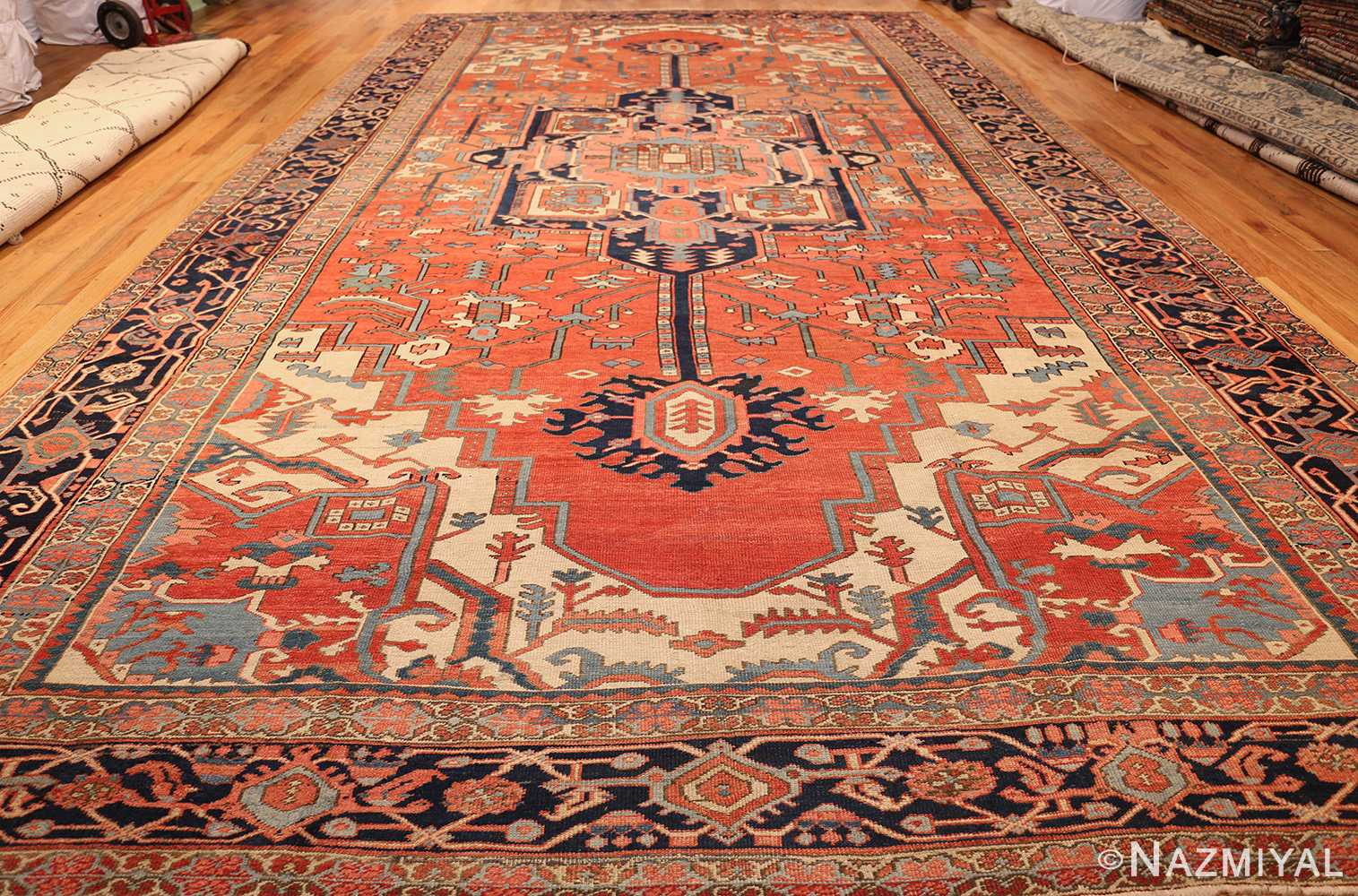 antique persian heriz serapi rug 48632 full Nazmiyal