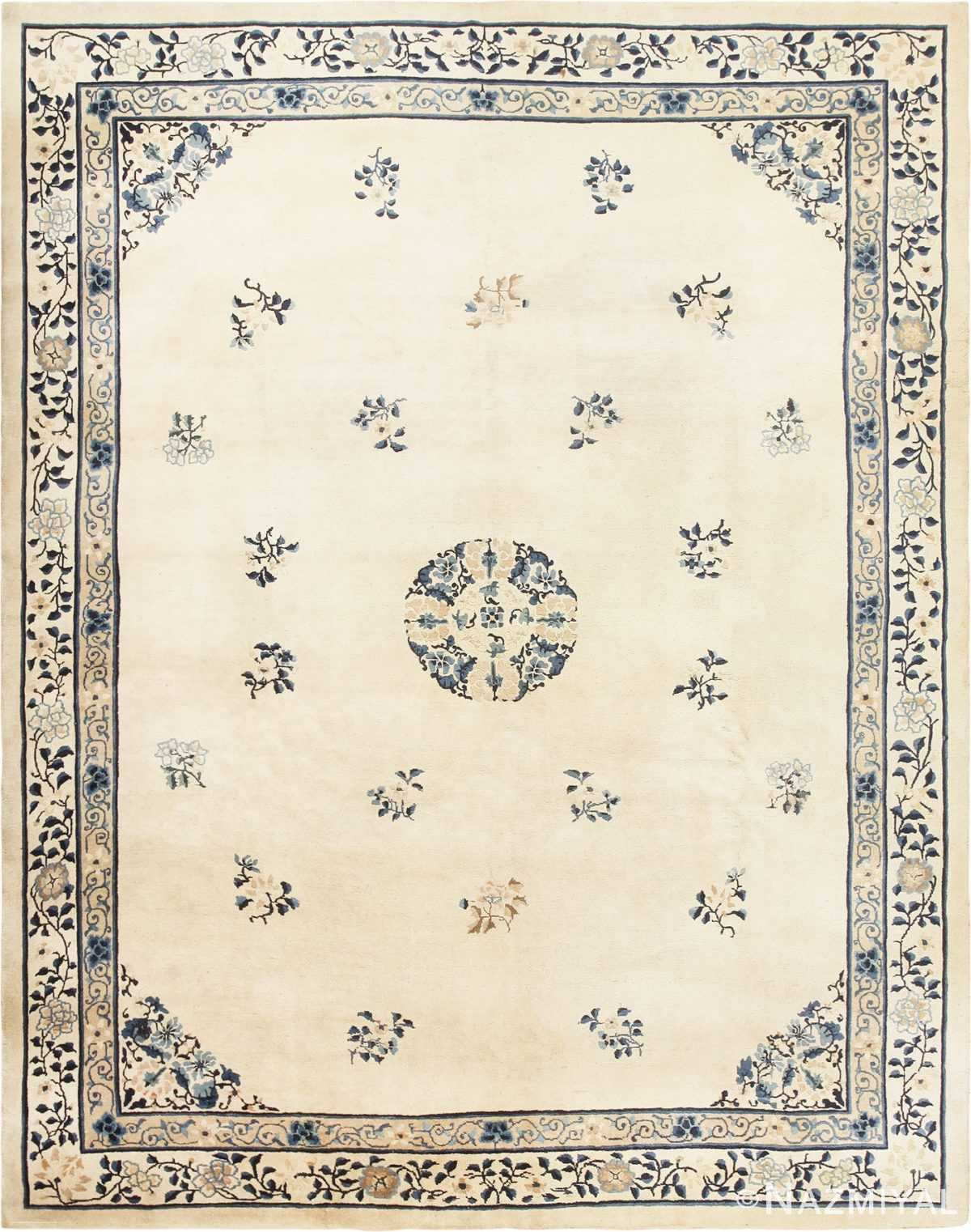 Antique Room Size Ivory and Blue Chinese Rug 49077 From Nazmiyal Antique Rugs in NYC