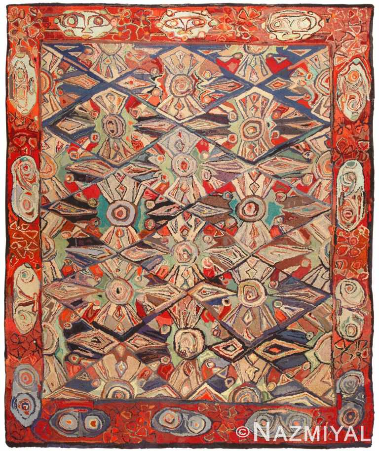 Breathtaking Room Size Antique Hooked Rug 50562