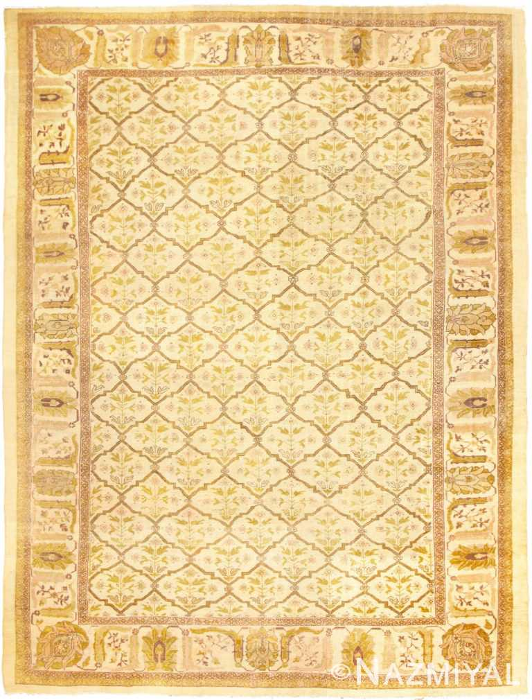 Ivory Antique Persian Sultanabad Rug 50388