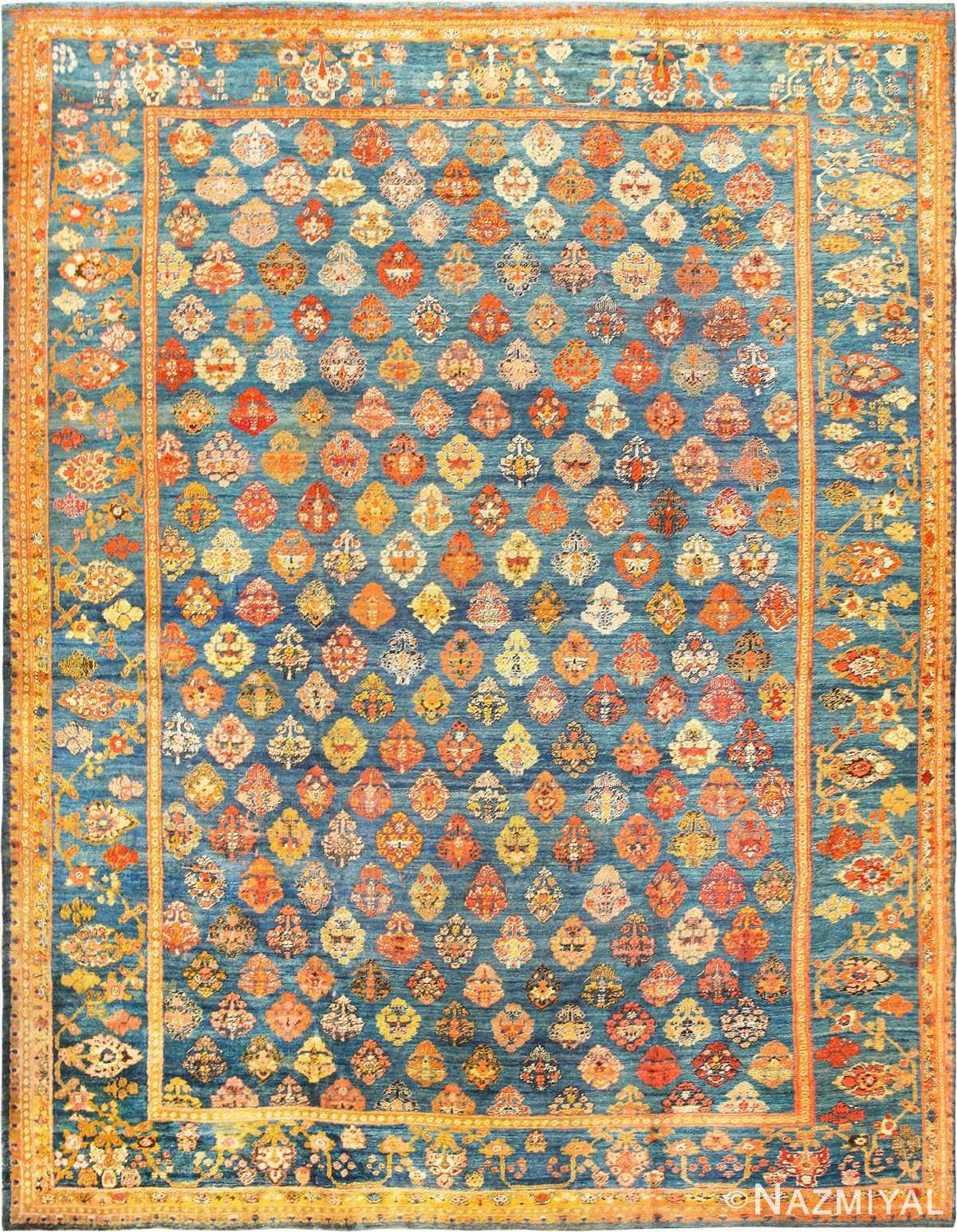 Large Size Decorative Light Blue Antique Turkish Angora Oushak Rug 49111 by Nazmiyal