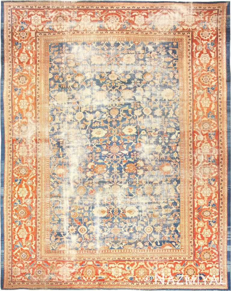 Large Light Blue Shabby Chic Persian Antique Sultanabad Rug 49046 by Nazmiyal