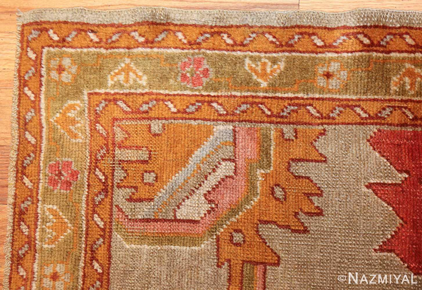 square antique oushak rug 49061 corner Nazmiyal