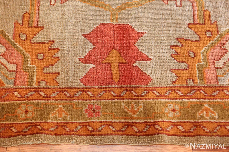 square antique oushak rug 49061 flower Nazmiyal
