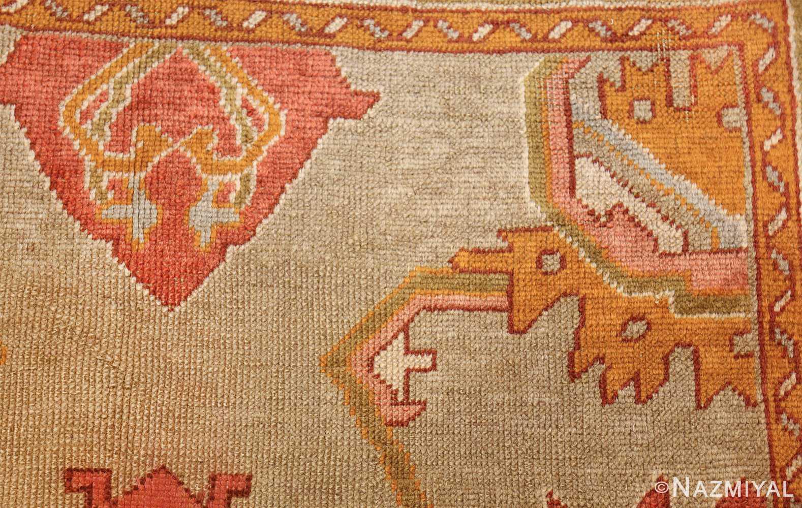 square antique oushak rug 49061 side Nazmiyal