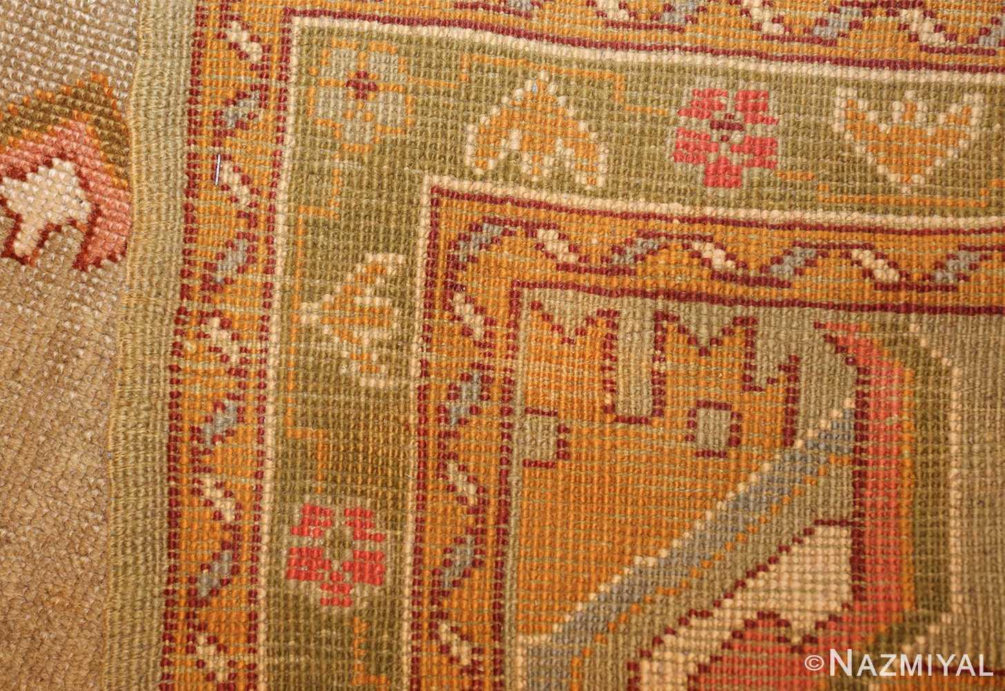 square antique oushak rug 49061 weave Nazmiyal