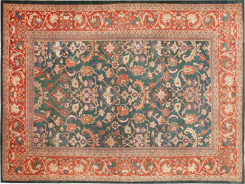 Antique Green And Red Sultanabad Persian Rug #42986 by Nazmiyal Antique Rugs