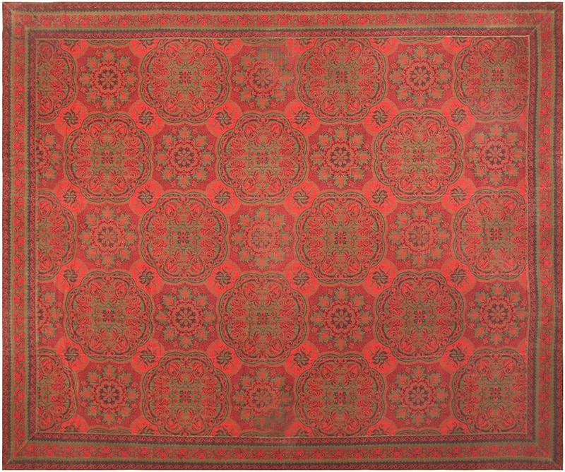 Antique Red and Green Arts and Crafts Wilton Carpet #42374 by Nazmiyal Antique Rugs