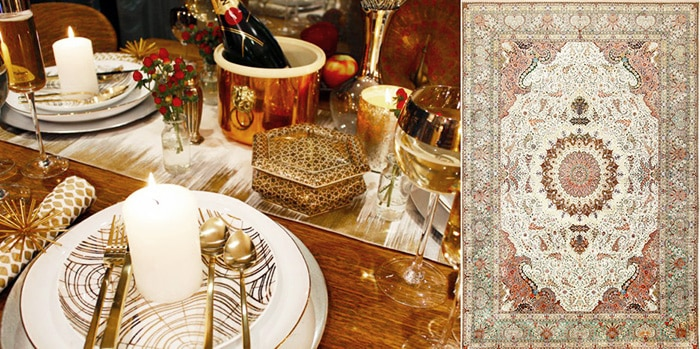 Create a stylish setting with a decorative antique silk and wool Persian Tabriz rug - Nazmiyal