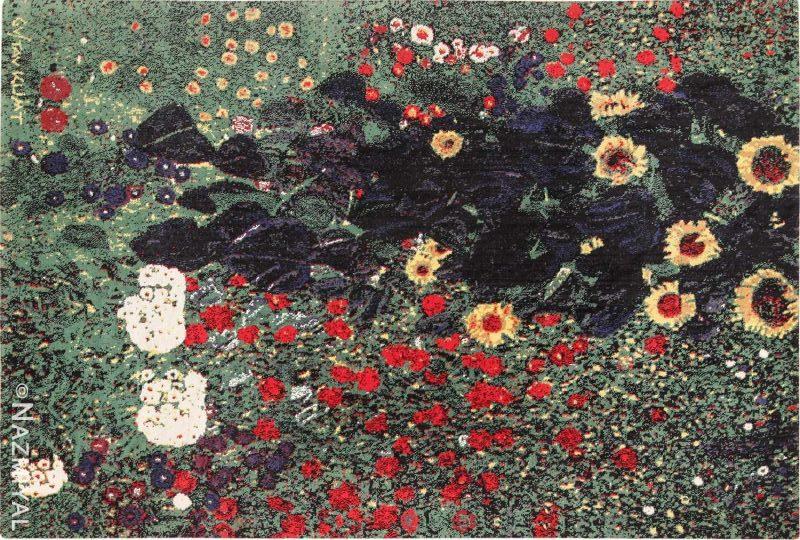 Vintage Scandinavian Farm Garden With Sunflowers Rug by Gustav Klimt Nazmiyal