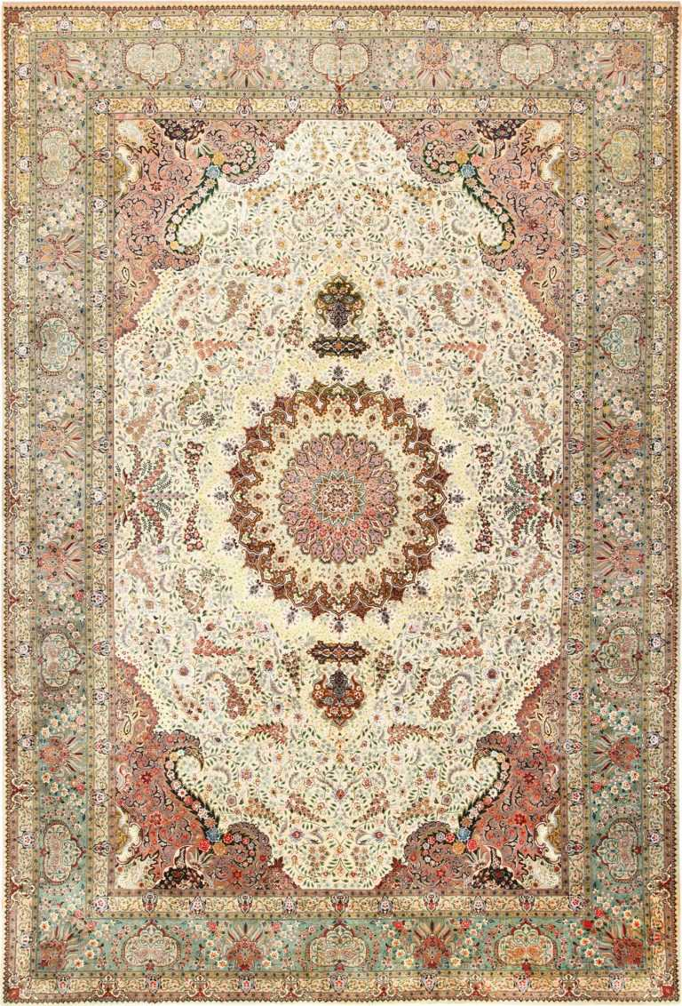 Finely Woven Silk and Wool Large Vintage Persian Tabriz Rug 49143 Nazmiyal